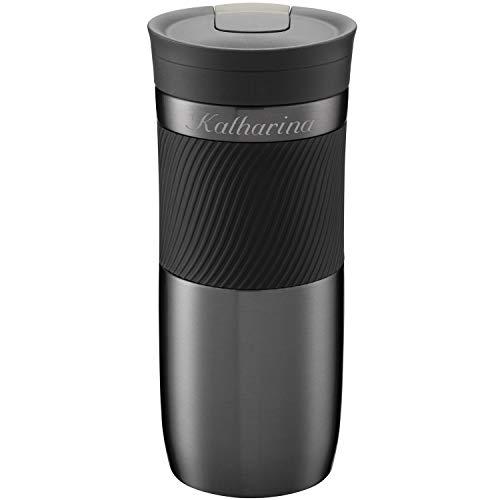Contigo Thermobecher Byron Gunmetal 470 ml mit persönlicher Rund-Gravur gelasert Silikon-Manschette praktischer Snapseal-Verschluss auslaufsicher