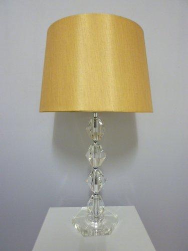 Dapo Tischleuchte mit LED Leuchtmittel, Lampe mit Kristallfuß und Seiden – Stoffschirm, Kristallleuchte Tischlampe (klar-Gold, Kary 54 cm)