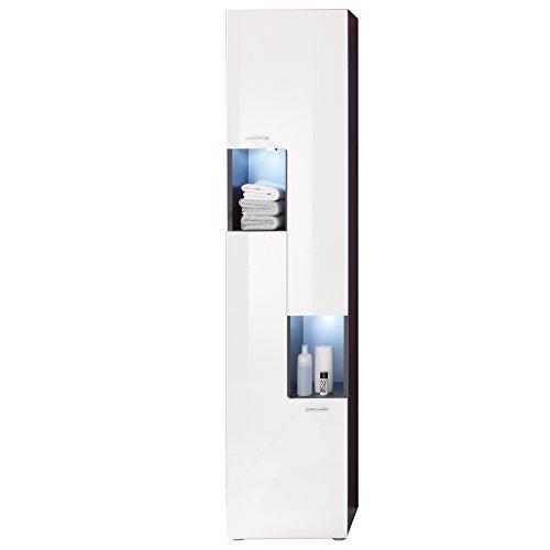Maisonnerie 1330-101-03 Armoire Grand Meuble Salle de Bain Graphite Décor Tetis Blanc Ultrabrillant LxHxP 40 x 182 x 30 cm