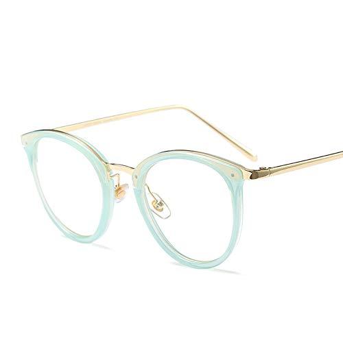 WULE-RYP Polarisierte Sonnenbrille mit UV-Schutz Vintage Harz Runde Brille Nerd Brille, Ultraleicht, Klare Linse Frauen Superleichtes Rahmen-Fischen, das Golf fährt (Farbe : Grün)