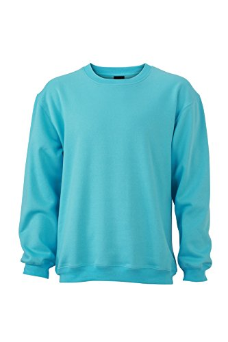 James & Nicholson Herren Round-Sweat Heavy Sweatshirt, Blau (Pacific), Small Preisvergleich