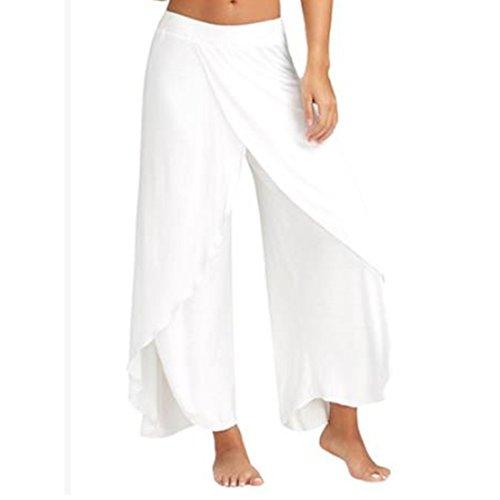 Vertvie Femme Pantalon Palazzo Bouffant Sarouel Casual Jambe Large Fendue Irrégulier Taille Élastique Blanc