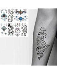 Oottati 8 fettes piccole tatuaggi temporanei mano collo modello croce bracciale totem wing