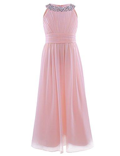 YiZYiF Mädchen Kleid Festlich Kleider Hochzeits Party Prinzessin Kleid Festzug Brautjungfer Lang Blumenmädchenkleider Gr. 104-164 Perlen Rosa 116