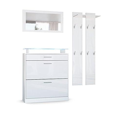 Garderobenset Garderobe Loret Mini, Korpus in Weiß matt / Front in Weiß Hochglanz