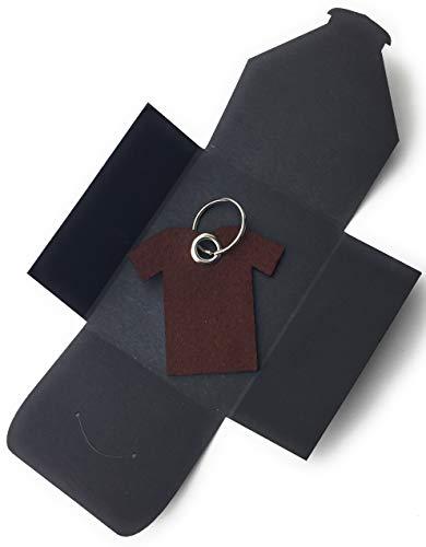 Schlüsselanhänger aus Filz - T-Shirt/Sport - dunkel-braun - als besonderes Geschenk