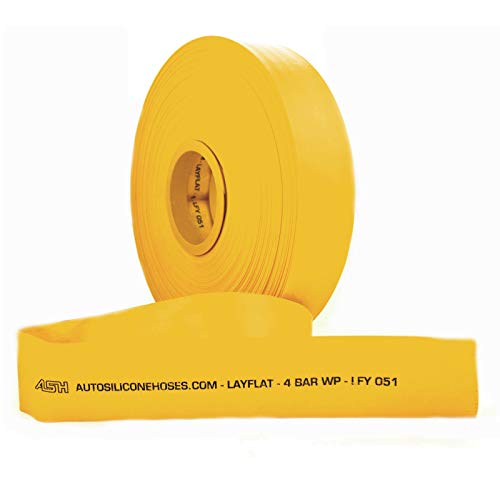 AutoSiliconeHoses.com 32mm ID Yellow 20 Metre Layflat Pipes PVC Water Hose Discharge Pump Lay Flat