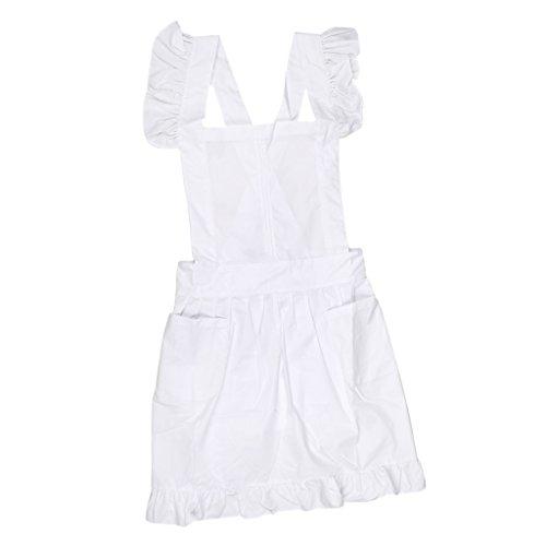 Schöne Viktorianische Spitze (Sharplace Viktorianischen Stil , Ärmellos Schürze Küchenschürze Kochschürze Kostüm - Weiß)