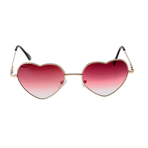 Prettyia Herz Form Dame Brille mit Farbverlauf Linse Augen Schutzbrille- Farben Auswählen - Rot klar