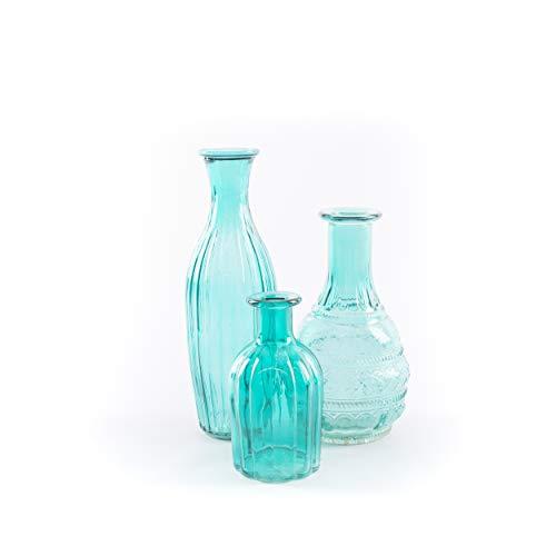 uellermarkt24.de | 3er Set Blumenvase Kerzenhalter blau Tischdeko Tischvase Deko ()