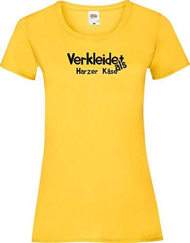 Lady-Shirt Verkleidet als Harzer Käse Verkleidet Karneval Fasching Kostüm Verkleidung, gelb, (Käse Kostüme)