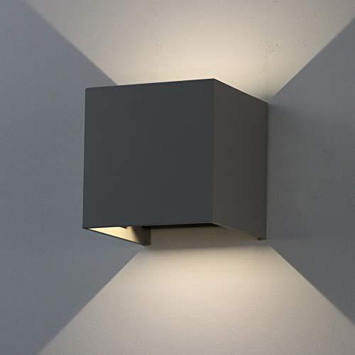 K-Bright 7W dekorative Wandlampen,IP65 innen / außen LED Wandleuchte, Dunkelgraues,atürliches Weiß,1 Stück