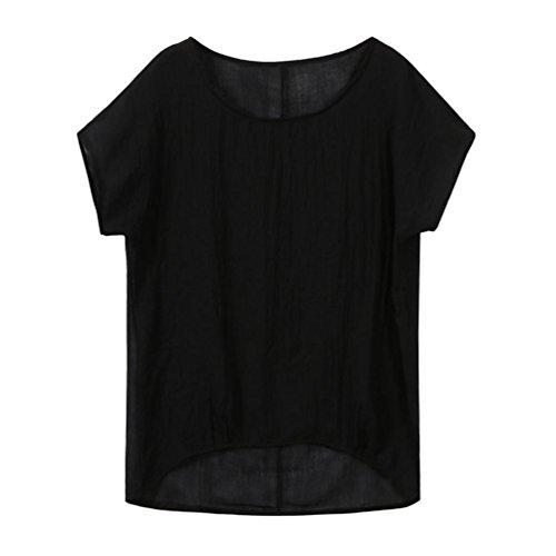 IMJONO T-Shirt Womens Fledermaus Kurzarm beiläufige Lose Top Dünnschnitt Bluse Pullover (EU-36/CN-S, Schwarz) (Bauchtanz-bh Machen)