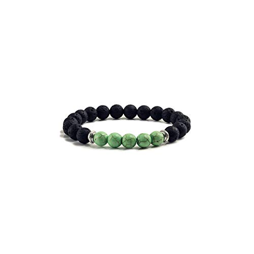 Awertaweyt Edelstein Perlen Armband Natural Volcanic Stone Bracelets Charm Women Chakra Balance Beads Men Black Lava Turquoises Strand Bangle FashionABCDEFJewelry Green Turquoise (Charme Avery James)