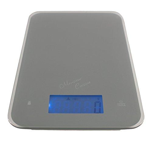 Monsieur Cuisine Digitale Küchenwaage Digitalwaage | Messgenauigkeit bis auf 1g | 5kg Maximalgewicht | Touchscreen | inkl. Batterien | silber