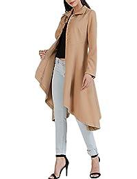 La Mujer Es Irregular Hem Abrigo Volantes Button Slim Fit Chaqueta Outwear