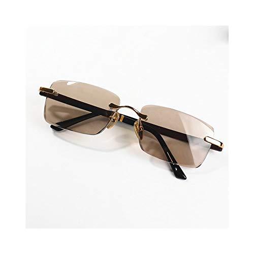 WULE-RYP Polarisierte Sonnenbrille mit UV-Schutz Frameless Brown Crystal Lens Sonnenbrillen für Herren, Optiacl Lens Eyewear Superleichtes Rahmen-Fischen, das Golf fährt (Farbe : Gold)
