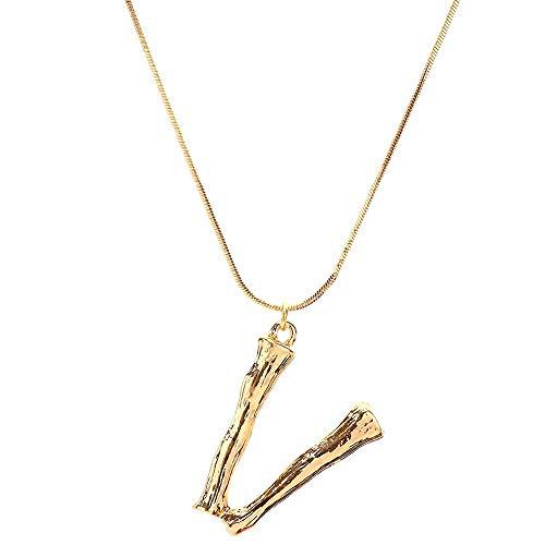 (EUCoo Mode Halsketten Frauen Geschenk 26 Englisch Brief Name Kette AnhäNger Halsketten Schmuck(Gold,V))