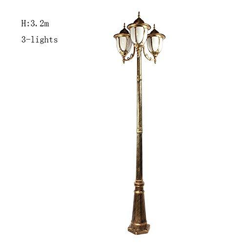3-Lights Acryl Outdoor Wasserdichte Pfosten Lampe Straße Hohe Pole Lichter Für Haus Patio Zeitgenössische Kollektion Säule Laterne Licht Traditionelle E27 (Color : Bronze-H-3.2m) -