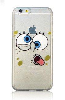 RONNEY'S Cartoon Bob l'éponge Coque souple transparente en TPU pour Apple iPhone avec protection d'écran, plastique, SB5, APPLE IPHONE 6/6S