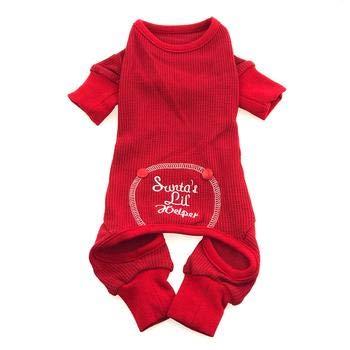 Santas Lil Kostüm Helper - DoggieDesign Weihnachtlicher Lil Helper Schlafanzug für Hunde, Rot