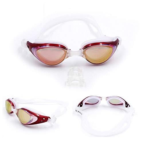 msbeen Professionelle HD-beschichtete Schwimmbrille, beschlagfrei und UV-beständig. Bequeme Unisex-Schutzbrille, rot