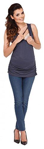 Zeta Ville - Maternité top de grossesse - Tee-shirt d'allaitement - femme - 371c Bleu Gris