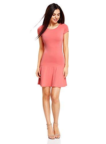 oodji Ultra Damen Jersey-Kleid mit Volants, Rosa, DE 34 / EU 36 / XS (Mini-cocktail-kleid)