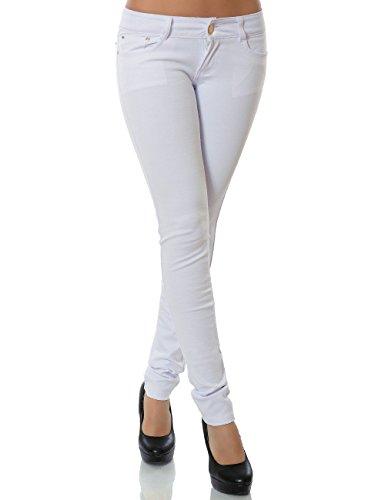 Sommer-schals Günstige (Damen Hose Treggings Skinny Röhre (weitere Farben) No 13011, Größe:L 40;Farbe:Weiß)