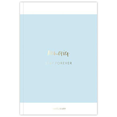 JO & JUDY Reisetagebuch Strand mit individuellen Fragen - 21 Urlaubstage mit extra Seiten für Highlights - Softcover in Blau mit goldener Prägung - 16,5 x 24 cm