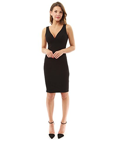 PattyBoutik femmes robe fourreau taille empire sans manches à col V. Noir