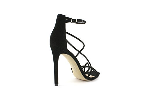 Steve Madden Satire Black Sandals - Sandali Da Donna Neri Pelle Scamosciata Black