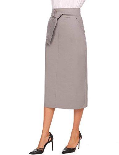 CHIGANT Damen Bleistiftrock Einfarbig Midi Rock Figurbetont Bürorock Stiftrock mit Schlitz Elegant Pencilrock Grau