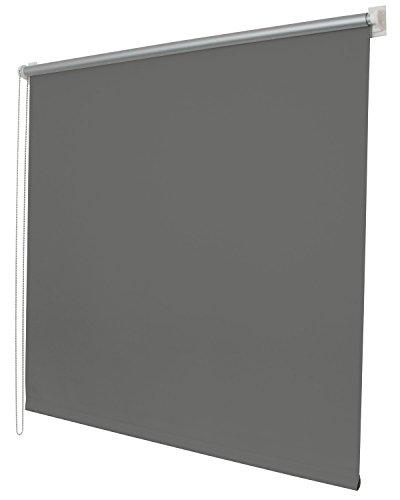 Thermo Seitenzugrollo Klemmfix Kettenzug Rollo , 80x150, Grau Easyfix mit Thermobeschichtung energie sparend Metallkette, 62400