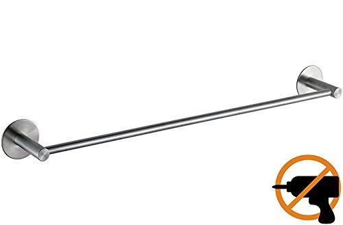 ToHa Selbstklebender Handtuchhalter gebürstetem Edelstahl Handtuchstange Ohne Bohren Bad und Küche 40cm