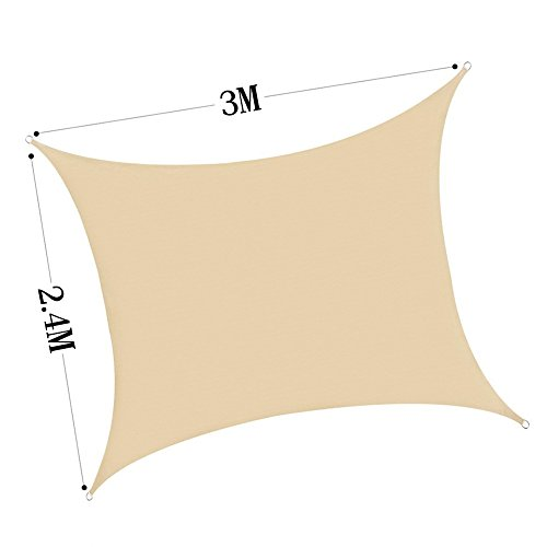 Voile d'ombrage respirant 3 m x 2.4 m rectangle en sable 2.4 x 3m beige