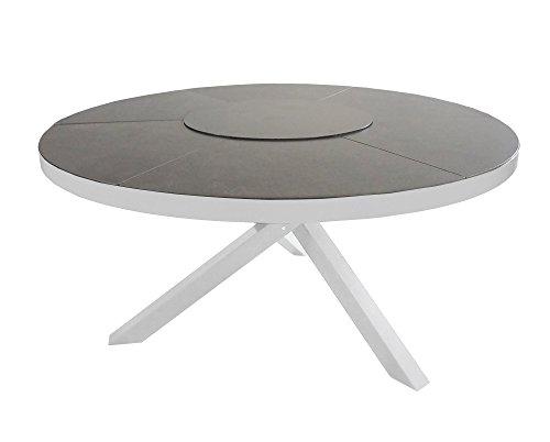 Gartentisch, Aluminium, Alu, Balkontisch,Terrassentisch, Ceramic, Aluminiumtisch, silber, grau
