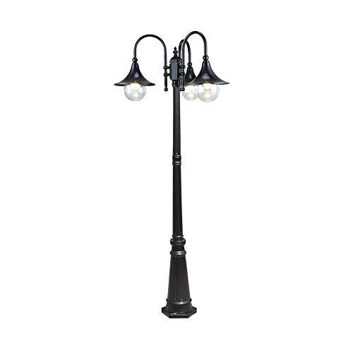 3 Säule Stehlampe (2 Mt 3-lichter Post Licht Traditionelle Victoria Outdoor Glasboden Laterne Regensicher Continental Retro E27 Terrasse Garage Säule Stehlampe Mit Hohen Pol (Color : Black))