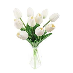 cherrboll Ramo de Tulipanes Artificiales, Flores de Tacto Real, Ramo de Novia, Ramo de Boda para el hogar, jardín…