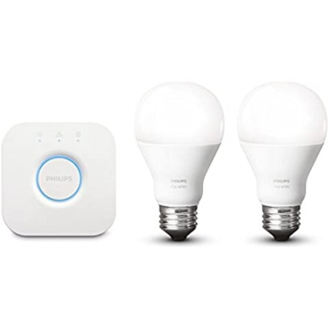 Philips Hue White Starter Kit con 2 Lampadine E27 e 1 Bridge Hue - Starter Kit 1 Kit