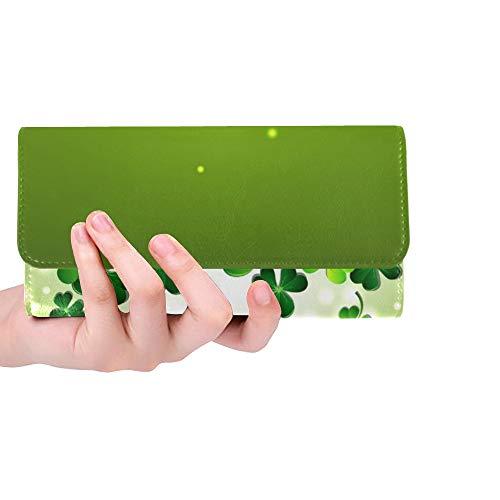 Einzigartiges abstraktes Licht auf Shamrock auf grünen Frauen Trifold-Mappen-Langer Geldbeutel-Kreditkarteninhaber-Fall-Handtasche