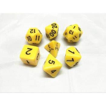 Arkero-G 7er Premium Dice Würfel-Set Einfarbig: Gelb / Yellow - für Rollenspiele Brettspiele Sammelkartenspiele wie MTG Magic Dungeon & Dragons Pathfinder DND