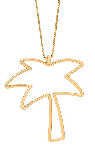 Malaika Raiss Halskette Damen Gold Große Palme Scherenschnitt Anhänger - Palm Tree 3D - 24 Karat Vergoldet Hochglanz - N3193 -