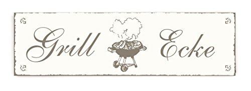 SCHILD Türschild « GRILL ECKE » Shabby Vintage Holzschild Dekoschild Dekoration Freizeit Grillen Barbeque BBQ