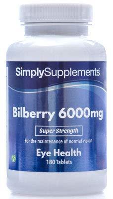 Heidelbeere Plus Extrakt 6000mg - 180 Tabletten - Versorgung für 3 Monate - unterstützt die Sehkraft - Simply Supplements