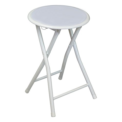Harbour Housewares Round Compact Folding Stool Seat – White
