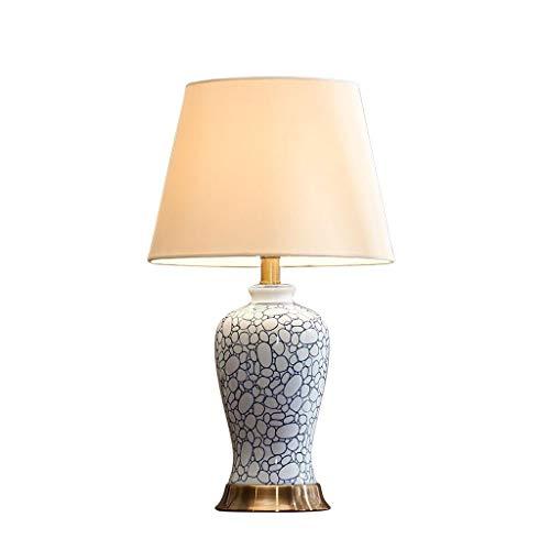 Blau und Weiß Porzellan Keramik Tischlampe Amerikanisches Schlafzimmer Handbemalte Nachttischlampe Leinen Lampenschirm Wohnzimmer - Porzellan Wärmer