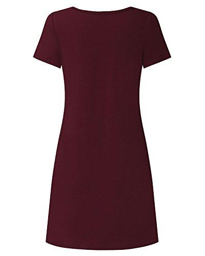 StyleDome Femme Robe Shirt Courte Trapèze Tunique Ample Col V Croix Manches Courtes Coton Slim Casual Bordeaux