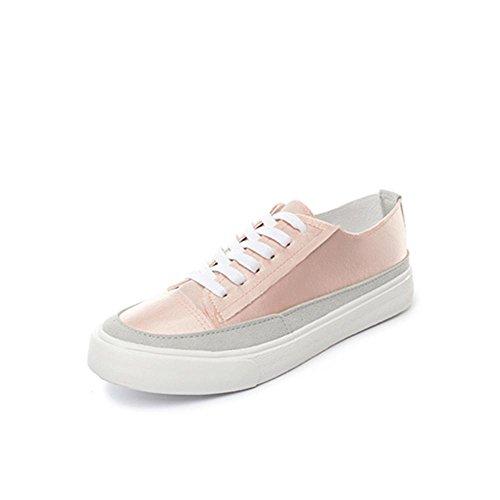 Heart&M Damen Low Top Lace-Up beiläufige Segeltuch-Skate-athletische Schuhe Turnschuhe Pink