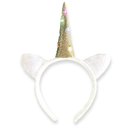 EinhornLiebe® Haarreif Einhorn Kostüm weiß mit LED Licht (inkl. Batterie) Damen Mädchen - Hübsche Frau Kostüm